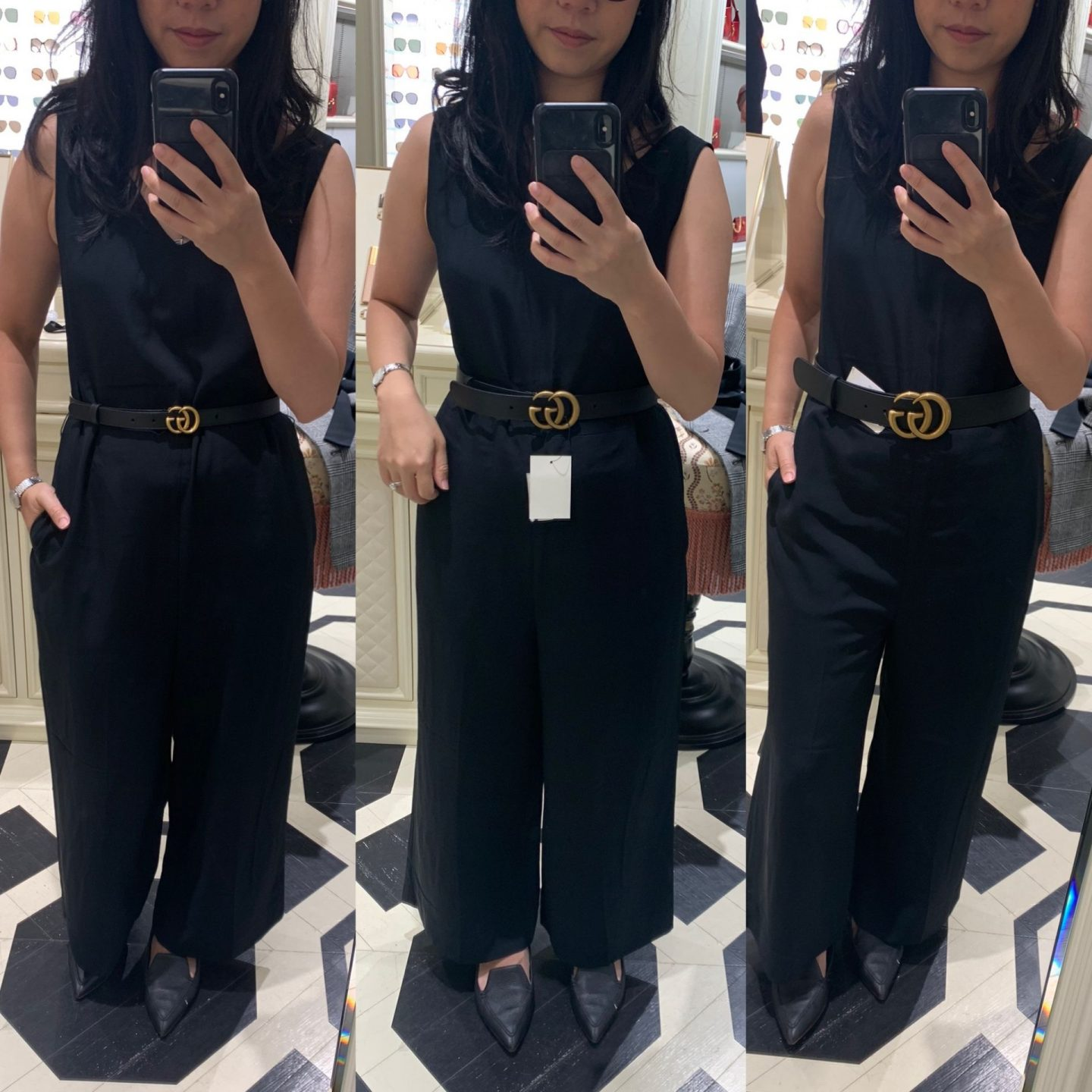 photo of woman wearing different width gucci belts in blog post featuring gucci belt comparison