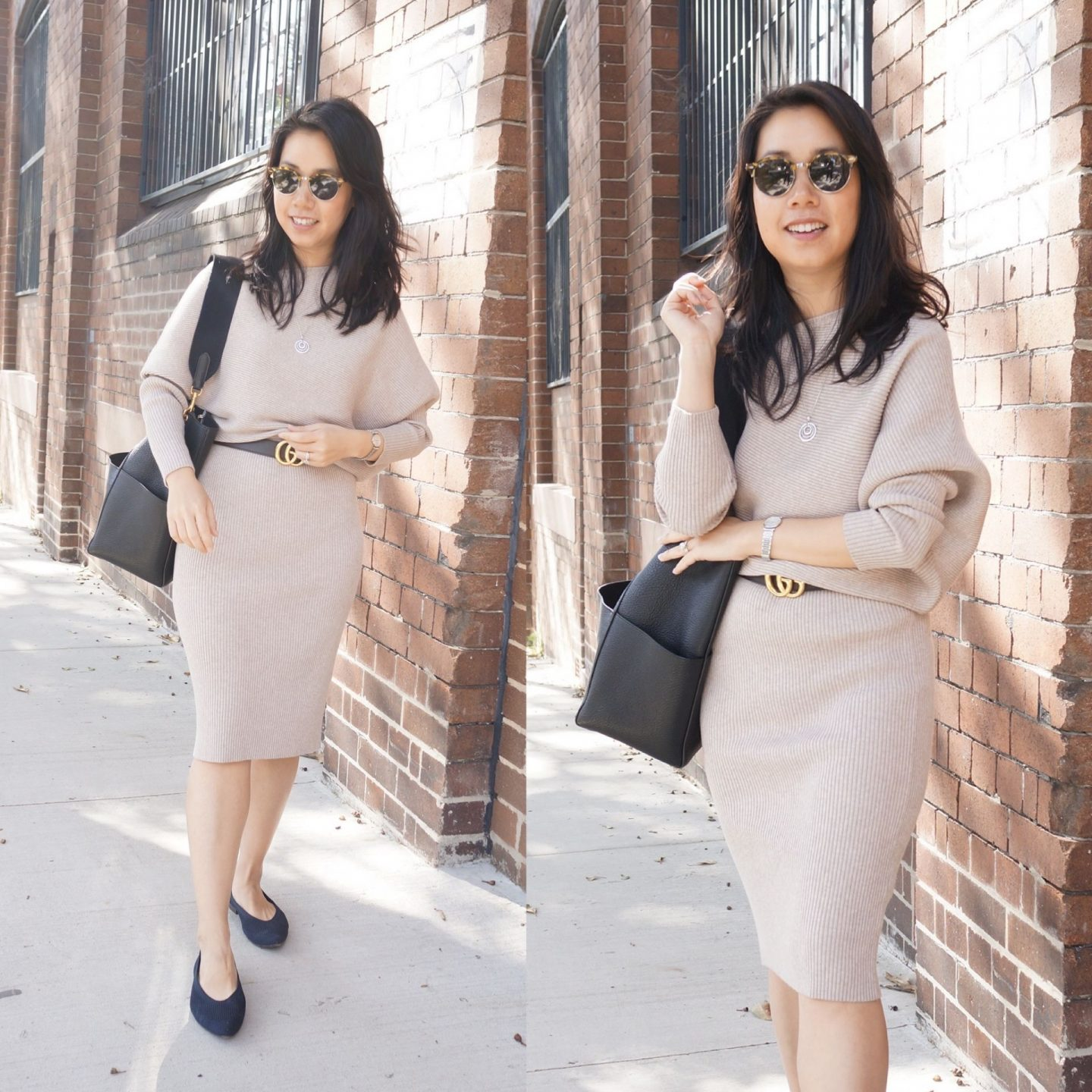 collage of two photos of woman wearing reiss lara dress in blog post about what to wear for your first day of a new job