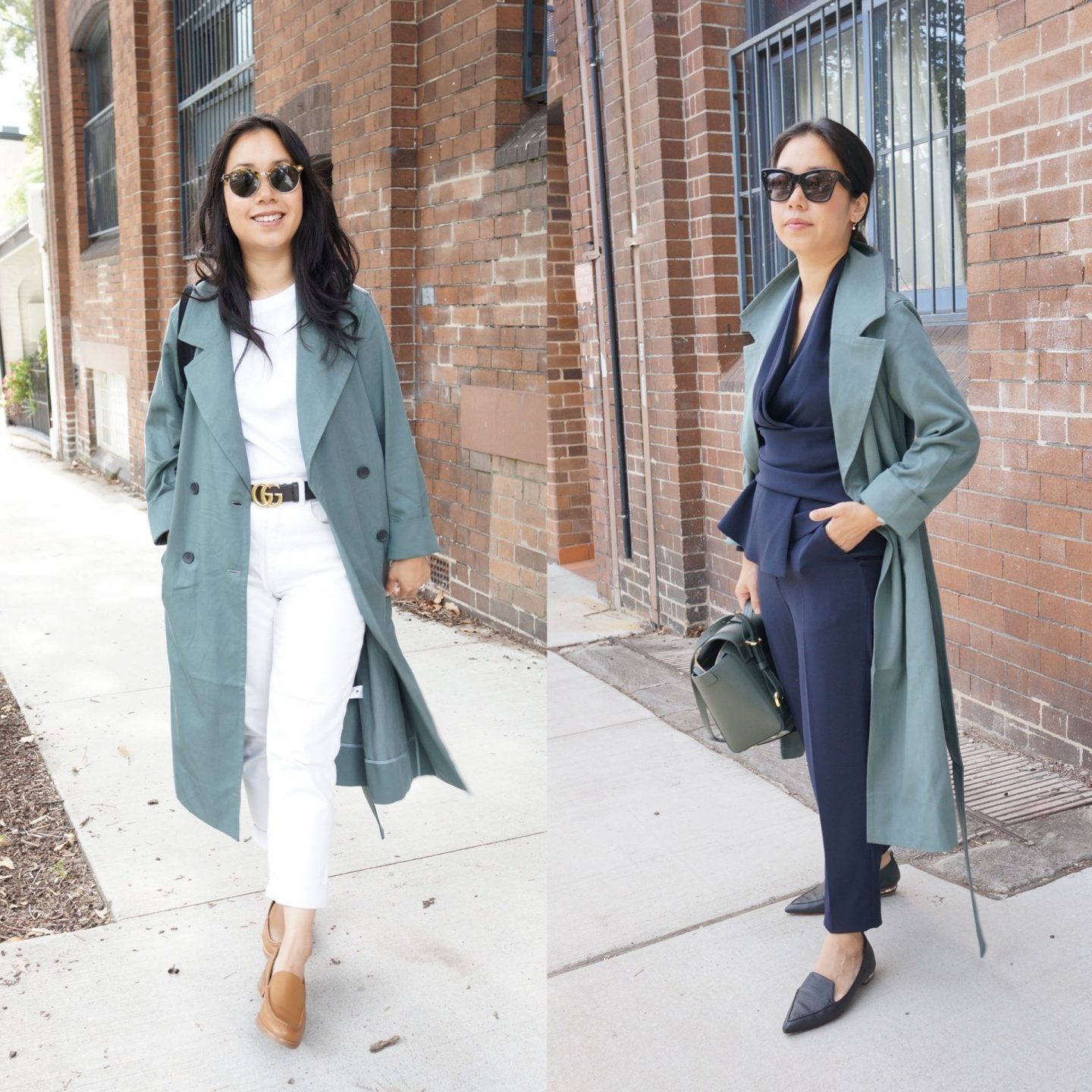 everlane drape trench coat in blog post about everlane jackets for transitional seasons for spring and autumn