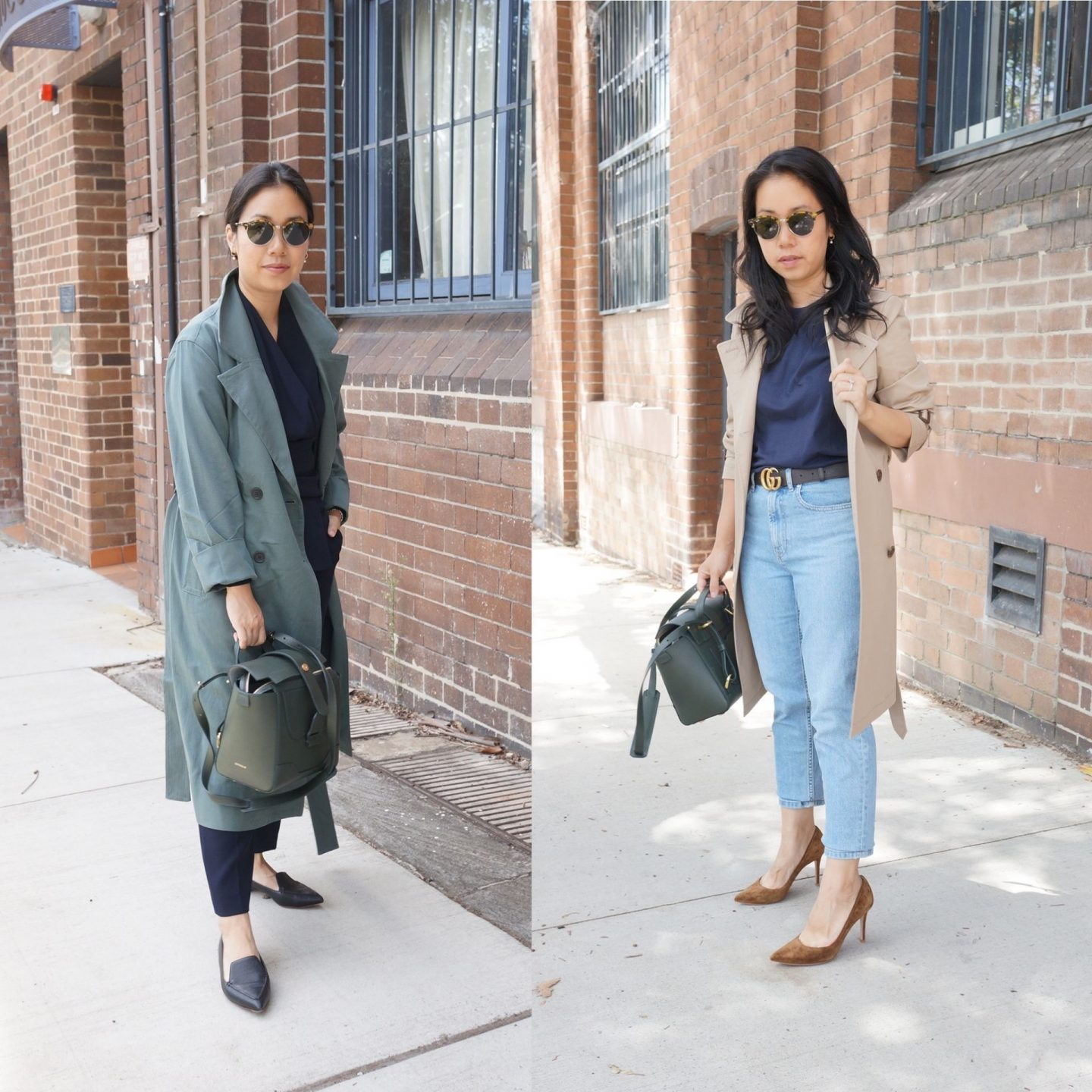 woman wearing outfits for work featuring the fold london and everlane in blog post about senreve mini maestra bag