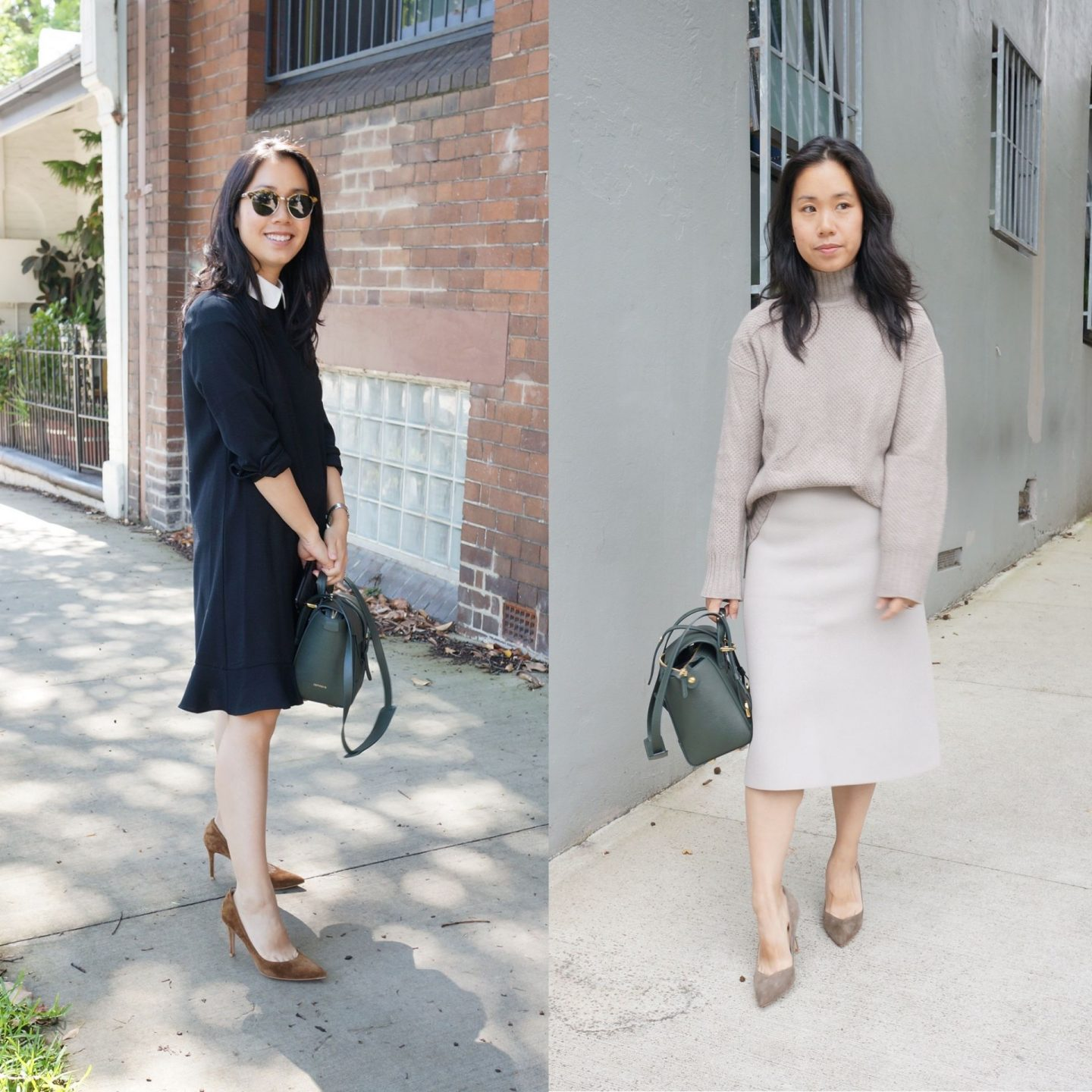 collage of woman wearing outfits to work featured in blog post about senreve mini maestra bag review