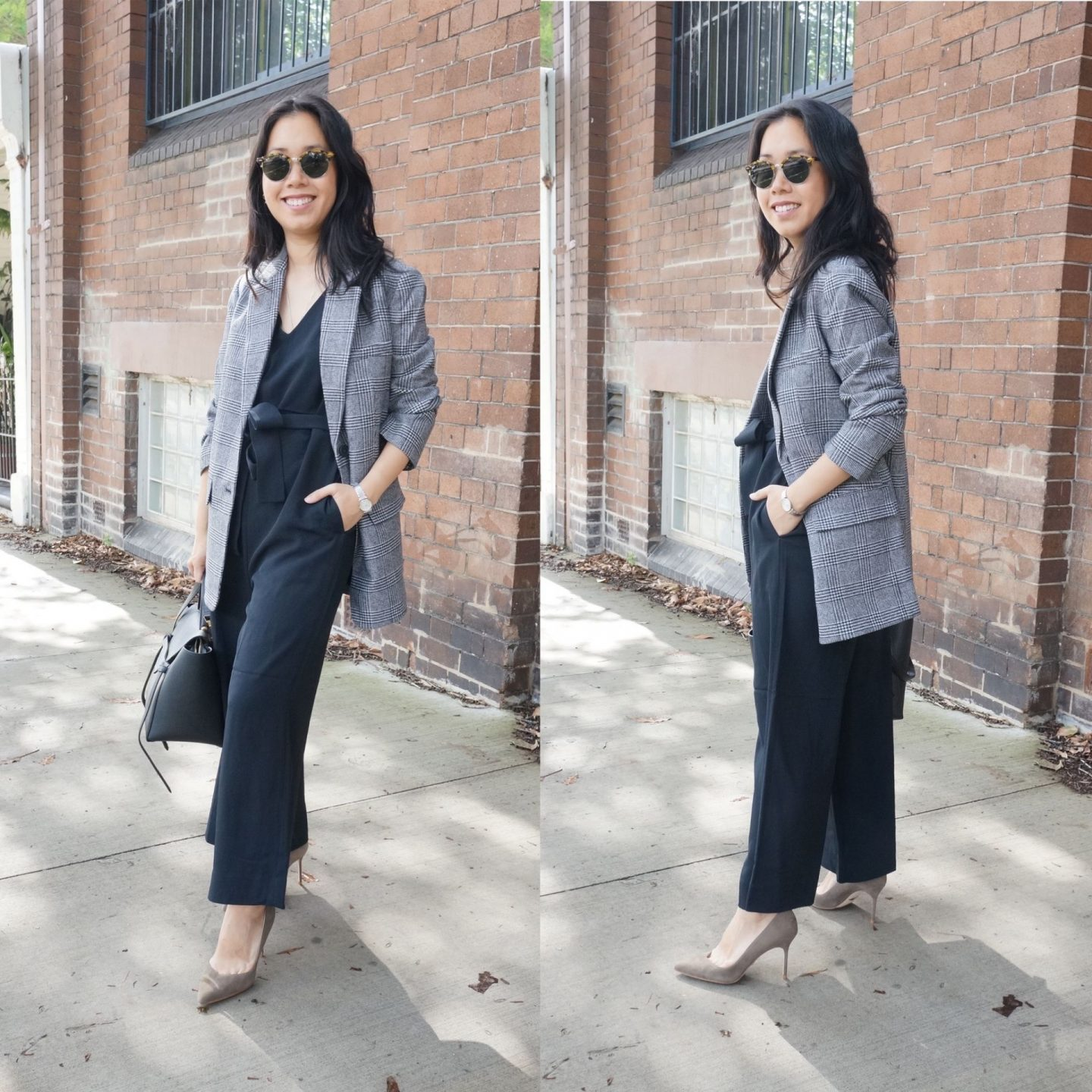 collage of woman wearing everlane japanese goweave essential jumpsuit styled with everlane oversized wool blazer and sarah flint pumps