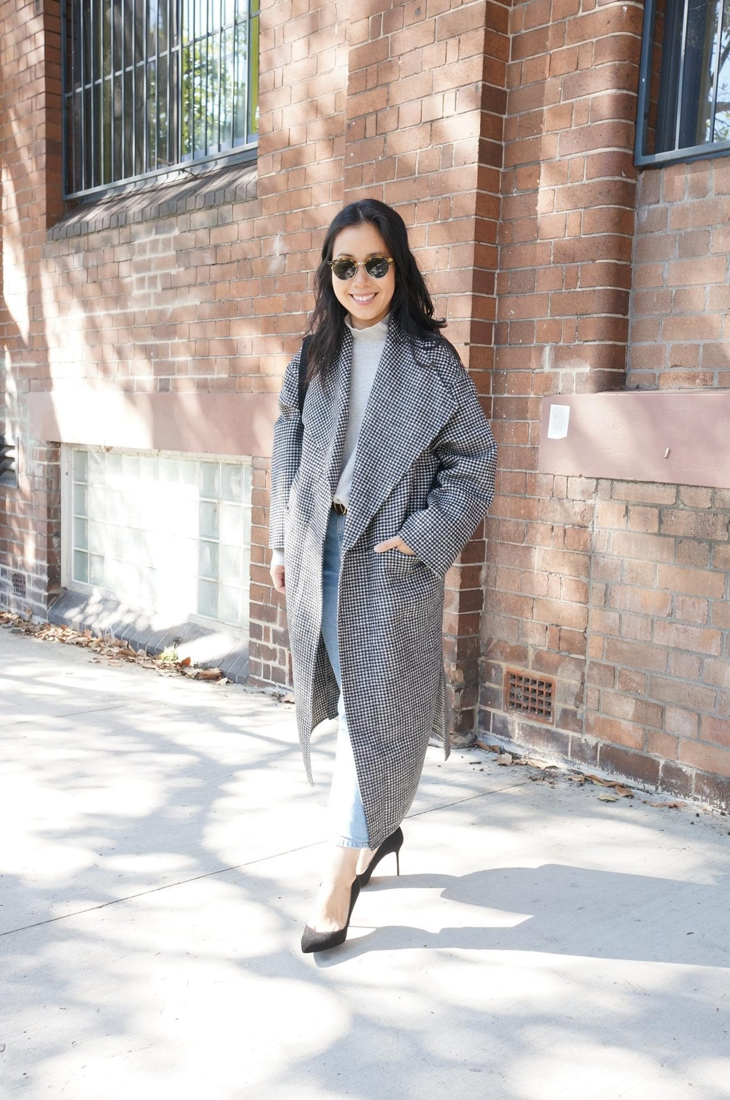 asian woman wearing toteme houndstooth annecy coat in blog post sharing first impressions