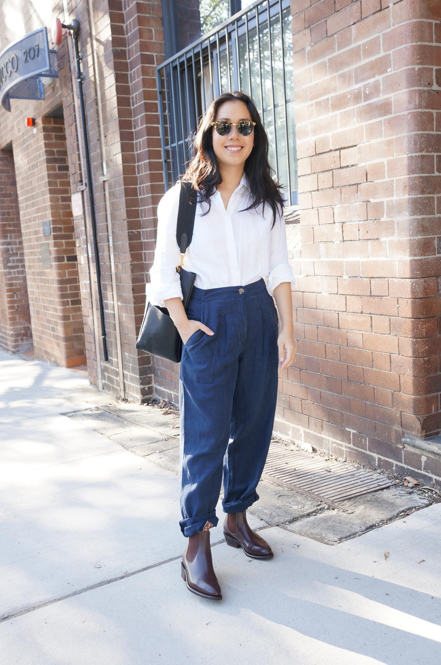 asian female blogger wearing r.m. williams boots in lady yearling style in chestnut