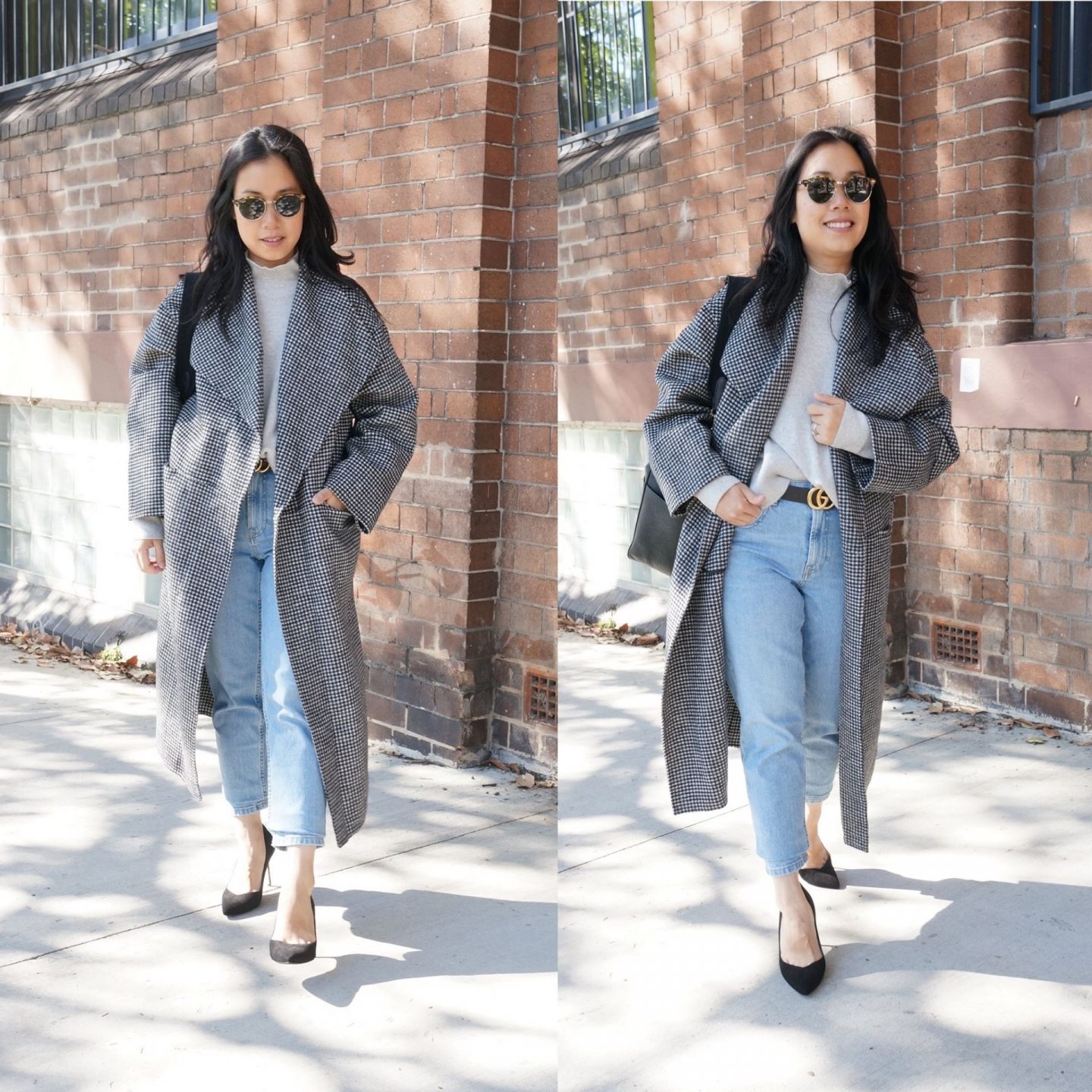 collage of photos of woman wearing toteme houndstooth annecy coat in blog post sharing first impressions