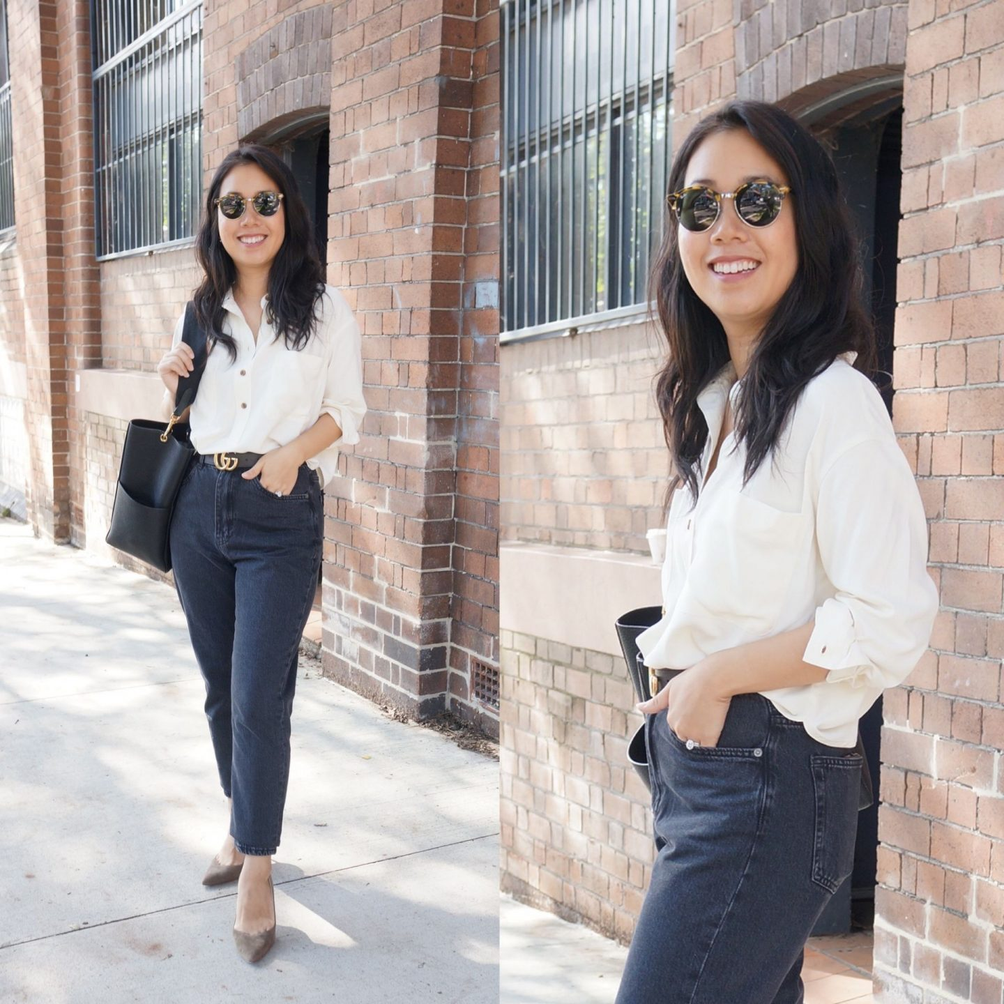 business casual outfit featuring everlane washable silk henley top, gucci belt and celine seau sangle bag