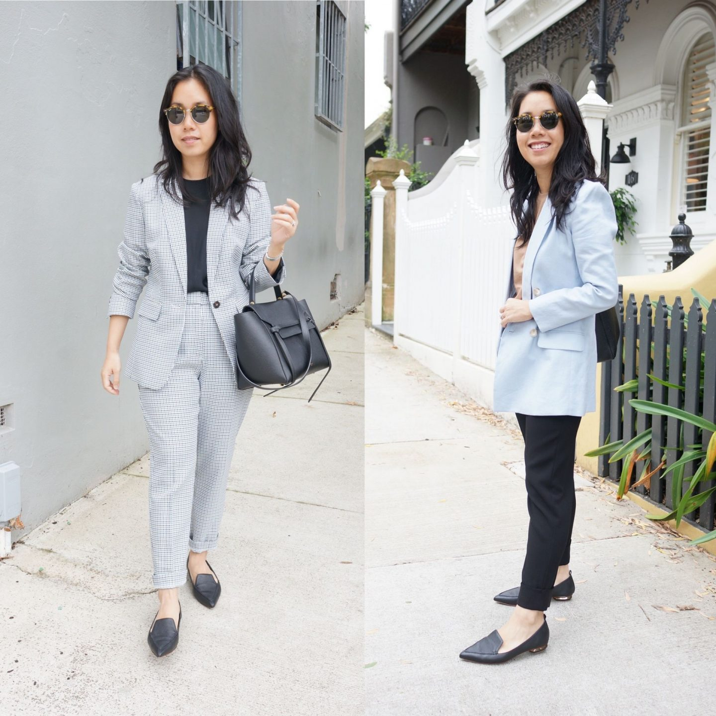woman wearing nicholas beya loafers in blog post about favourite work shoes