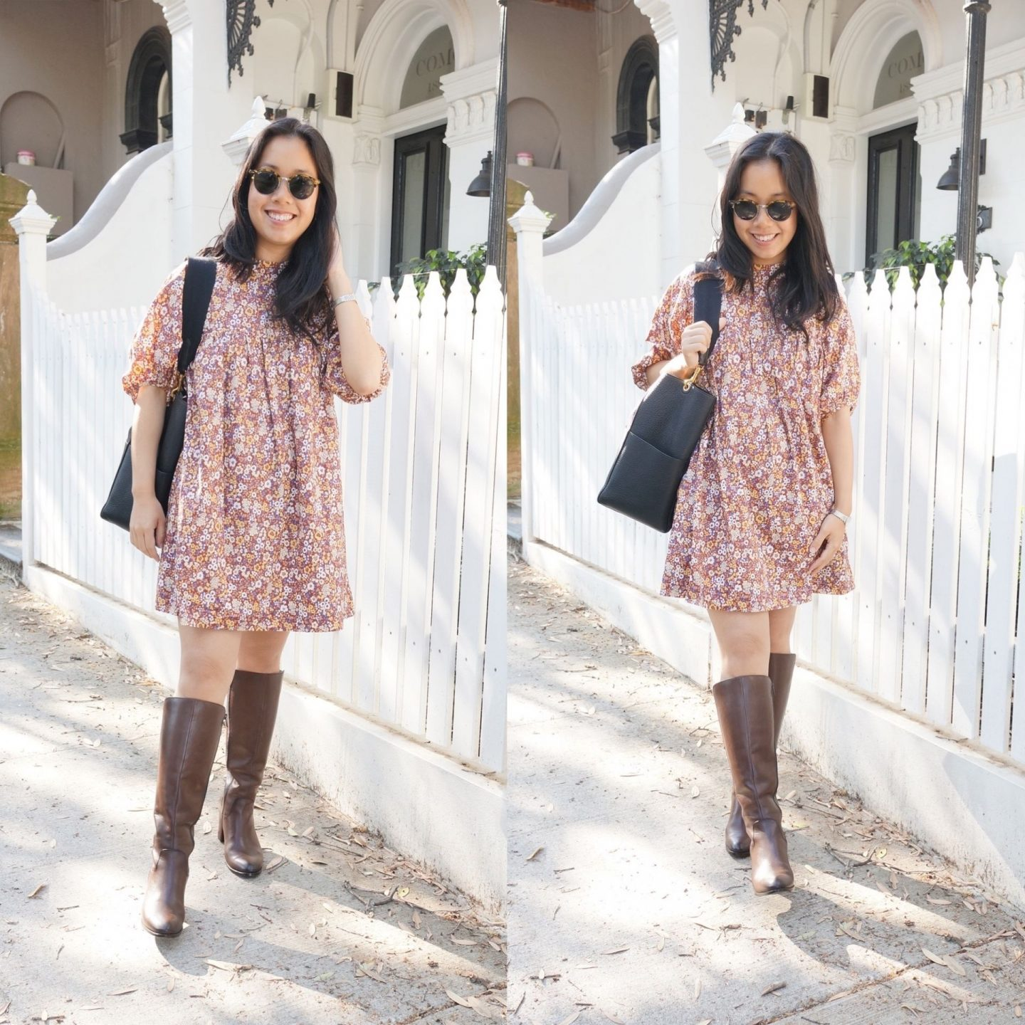 autumn favourites from everlane featuring floral print dress