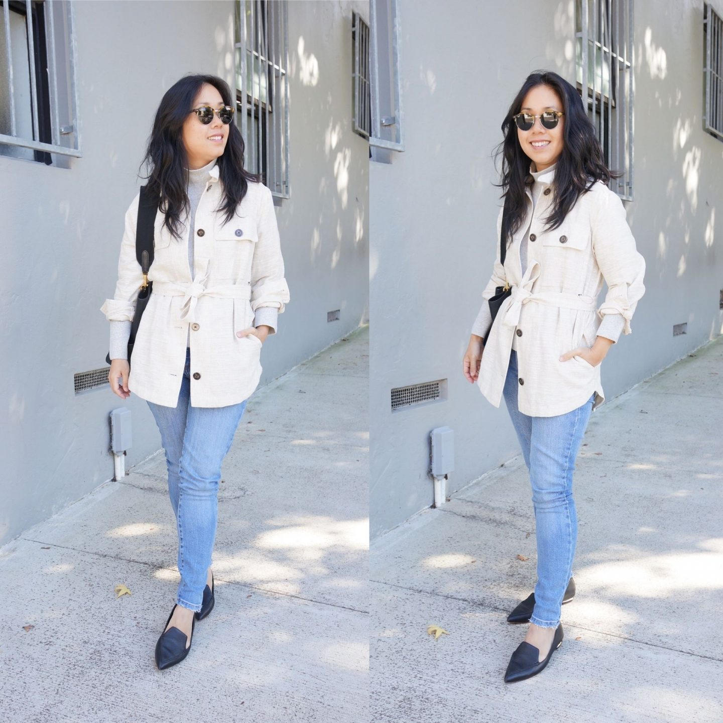 asian workwear blogger wearing shacket from marks & spencer sale in blog post rounding up M&S favourites