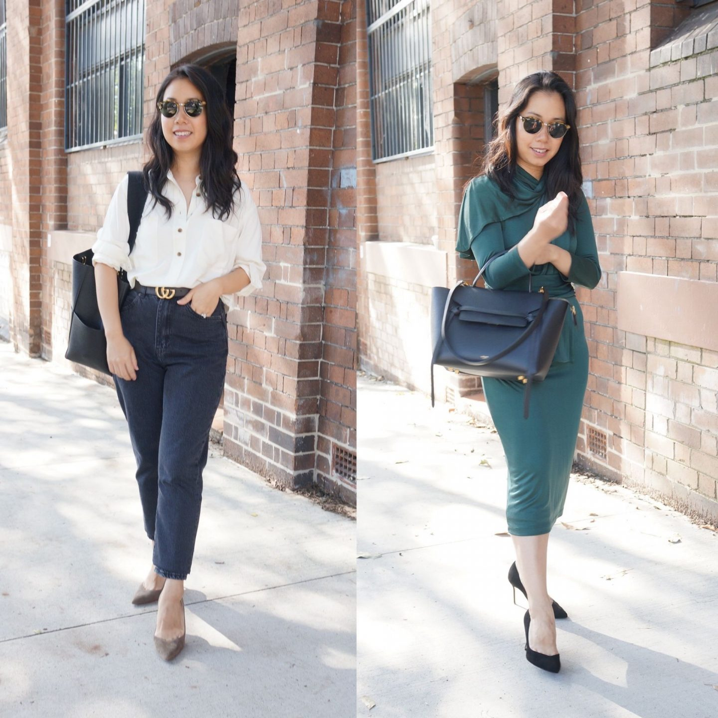 woman wearing sarah flint perfect pumps in blog post about favourite work shoes to wear to the office