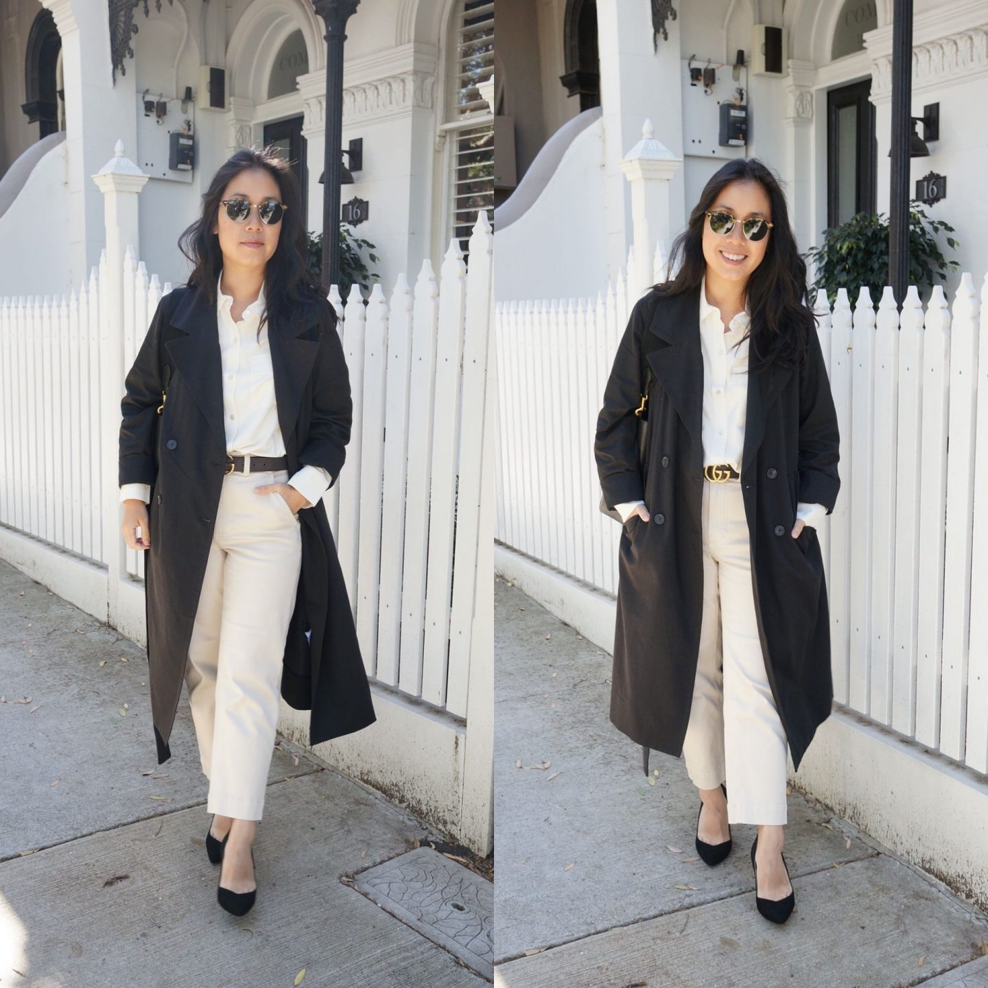 minimal business casual outfit featuring everlane washable silk shirt and drape trench coat