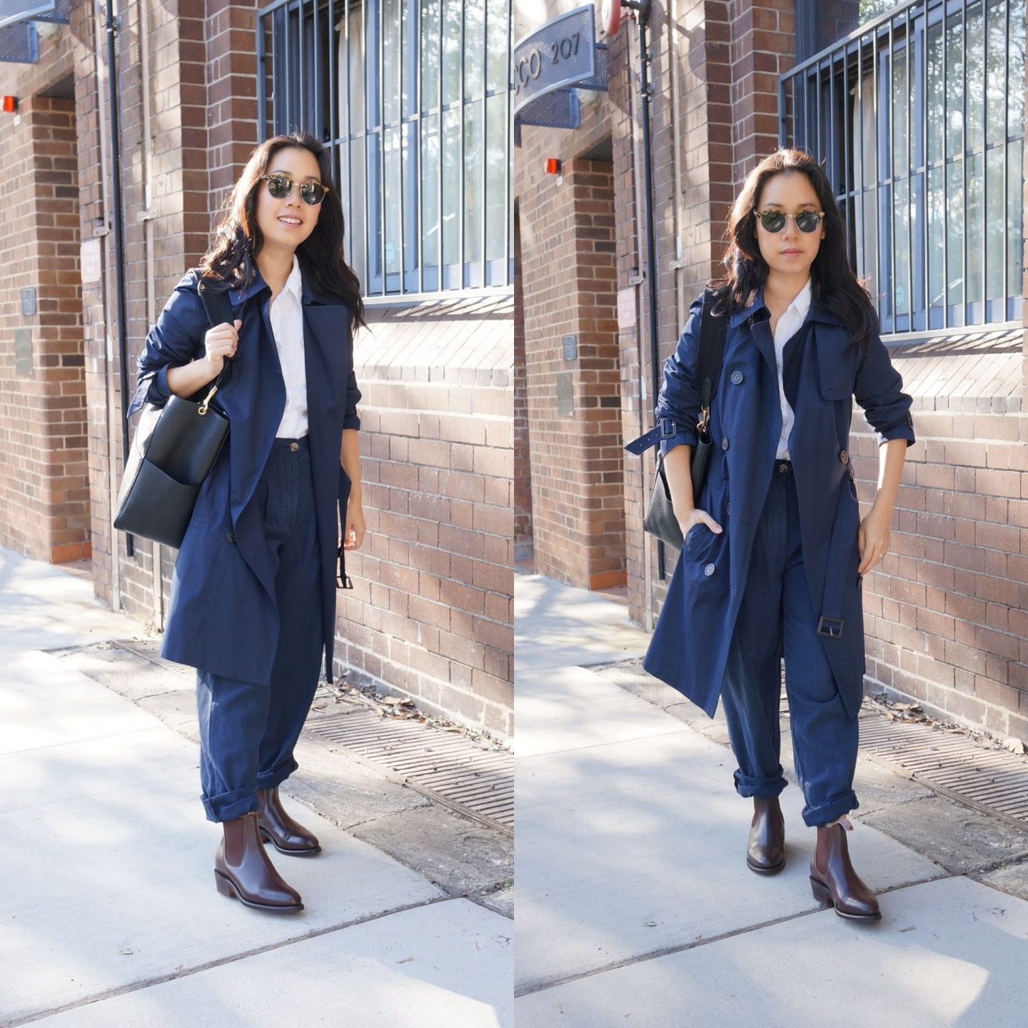asian workwear blogger wearing r.m. williams lady yearling boots with marks & spencer trench in post about autumn sale