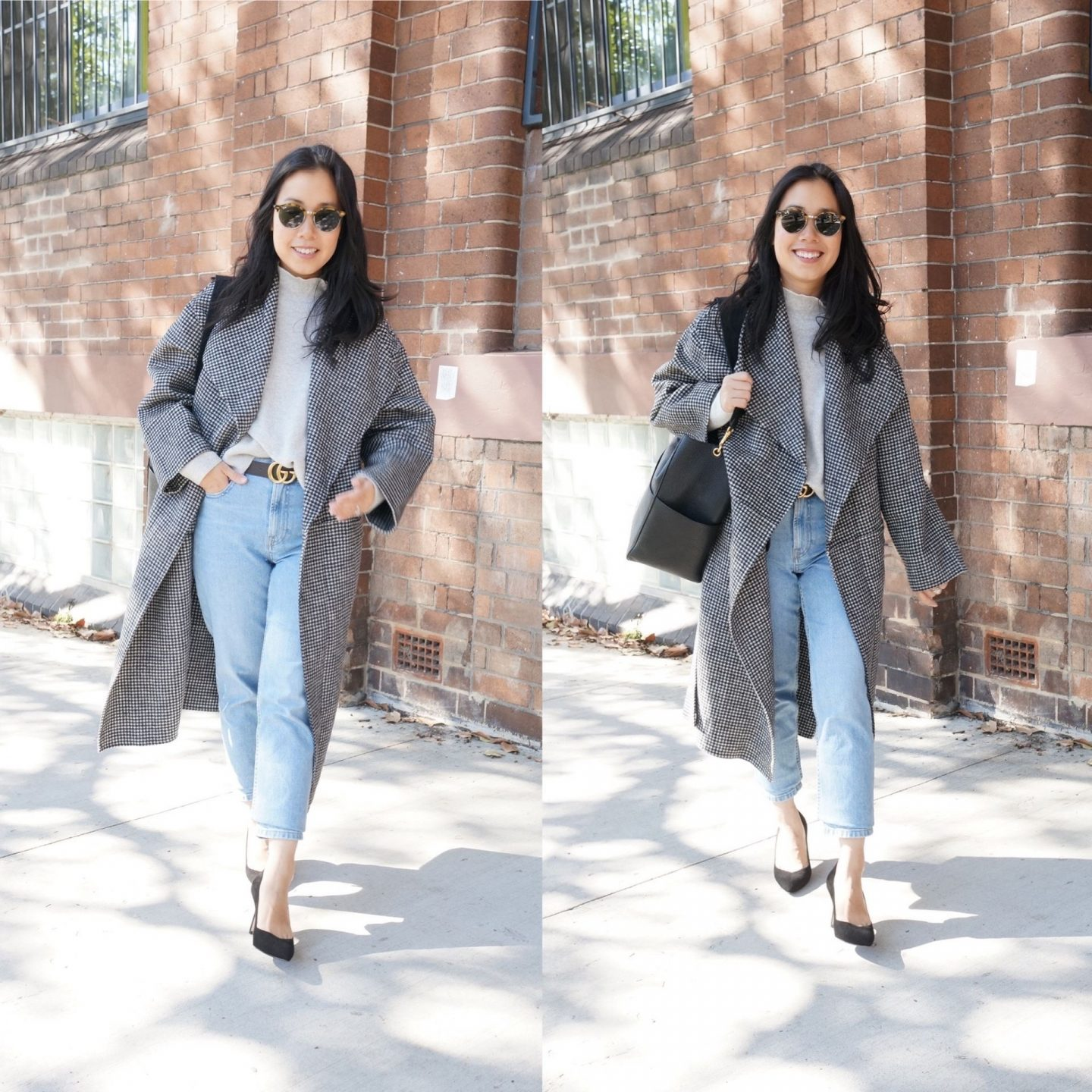 blog post talking through wardrobe items to keep featuring woman wearing toteme annecy coat