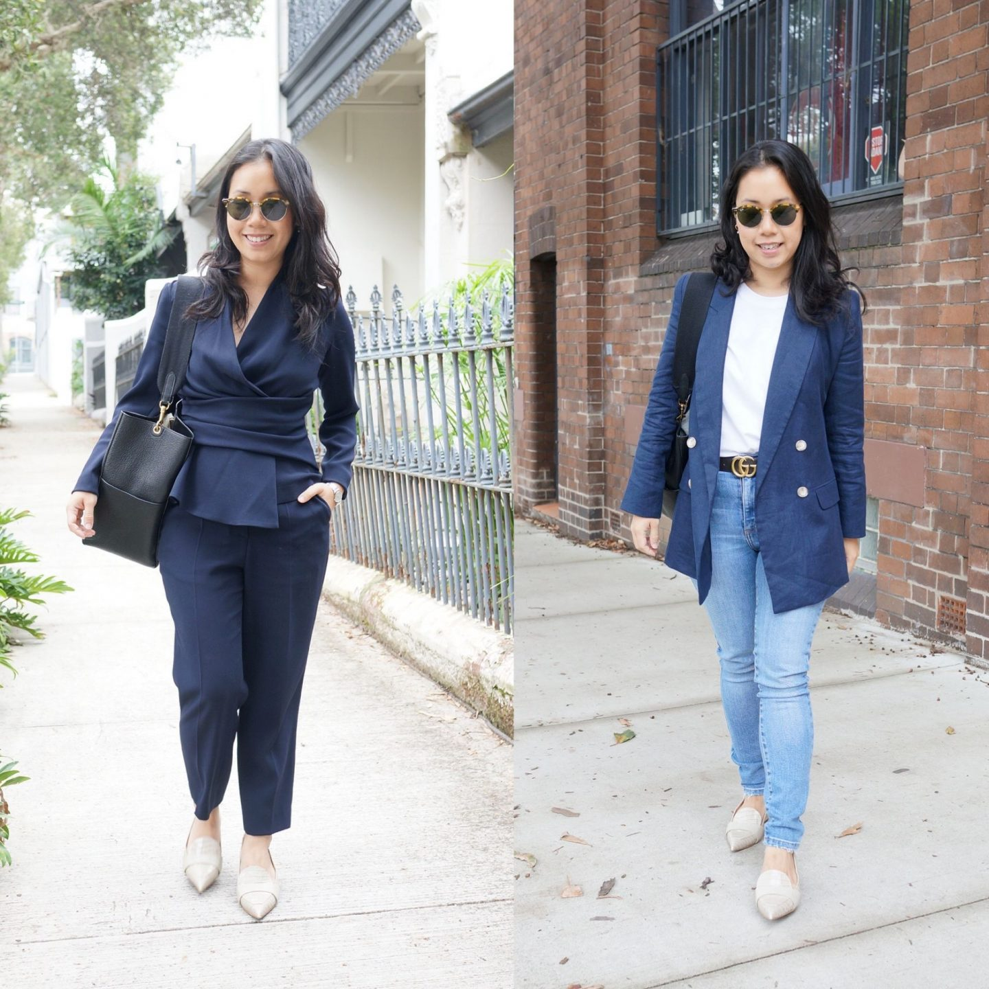 woman wearing the fold isola pumps in blog post about favourite work shoes