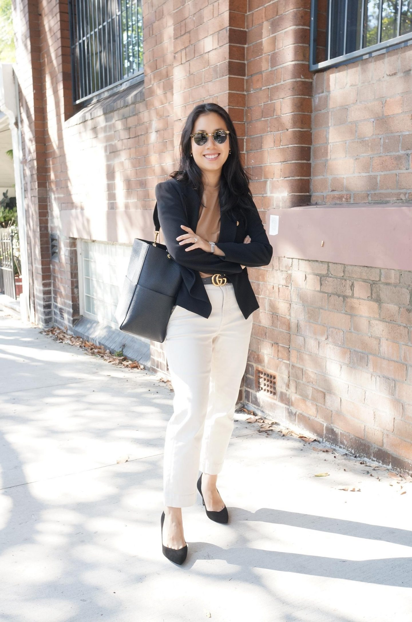 whatveewore blog post about budget for work clothes wearing everlane, gucci belt and sarah lloyd