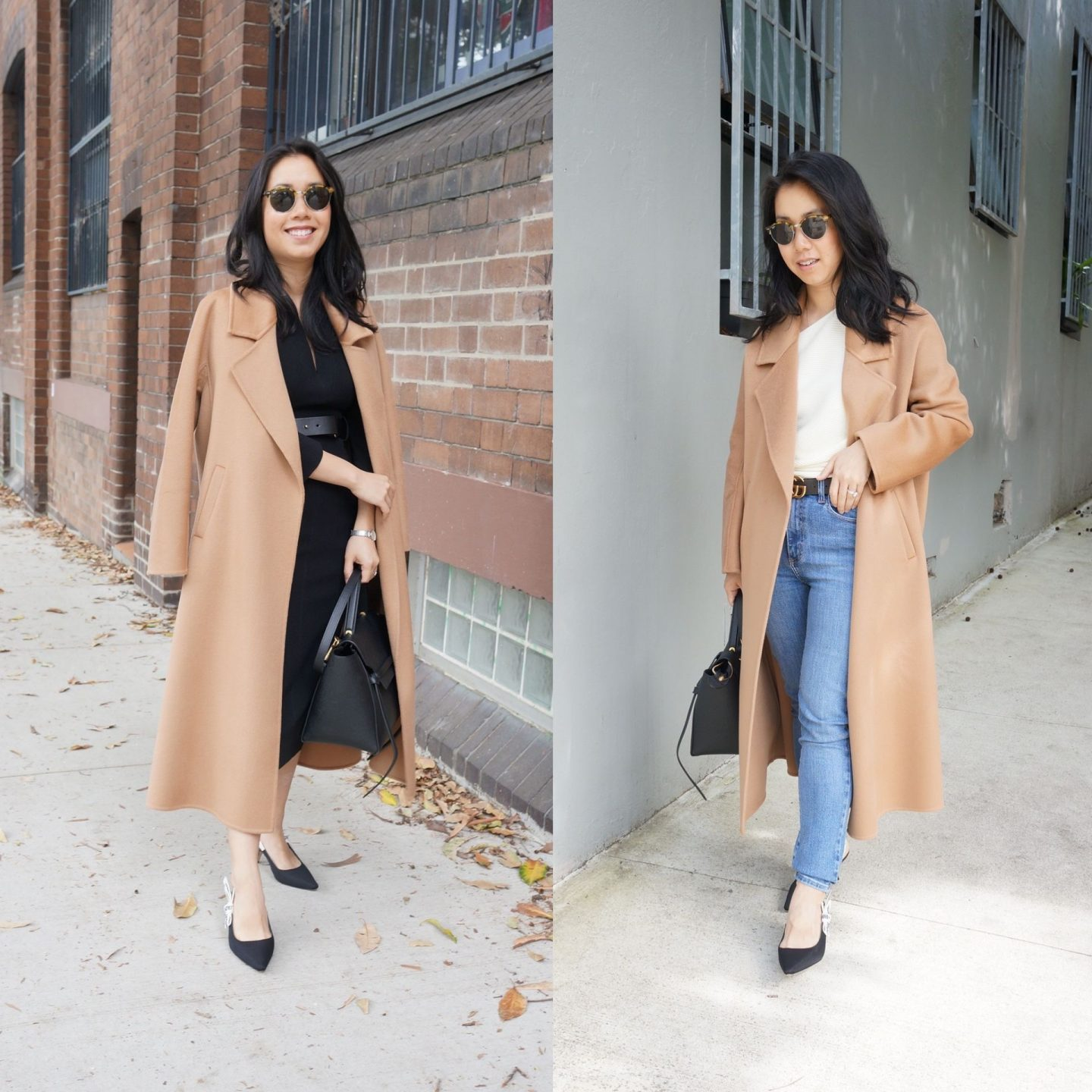 the curated tailored coat worn on petite woman wearing karen millen forever dress in blog post of comprehensive review