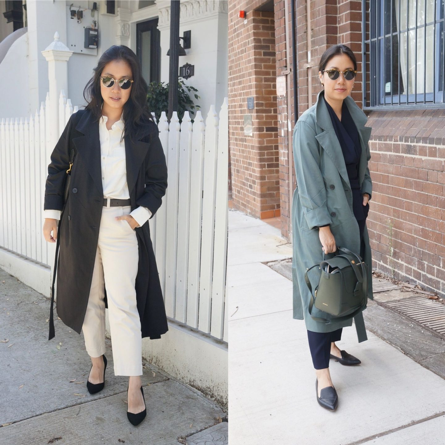 everlane drape trench coat in blog post about everlane workwear favourites