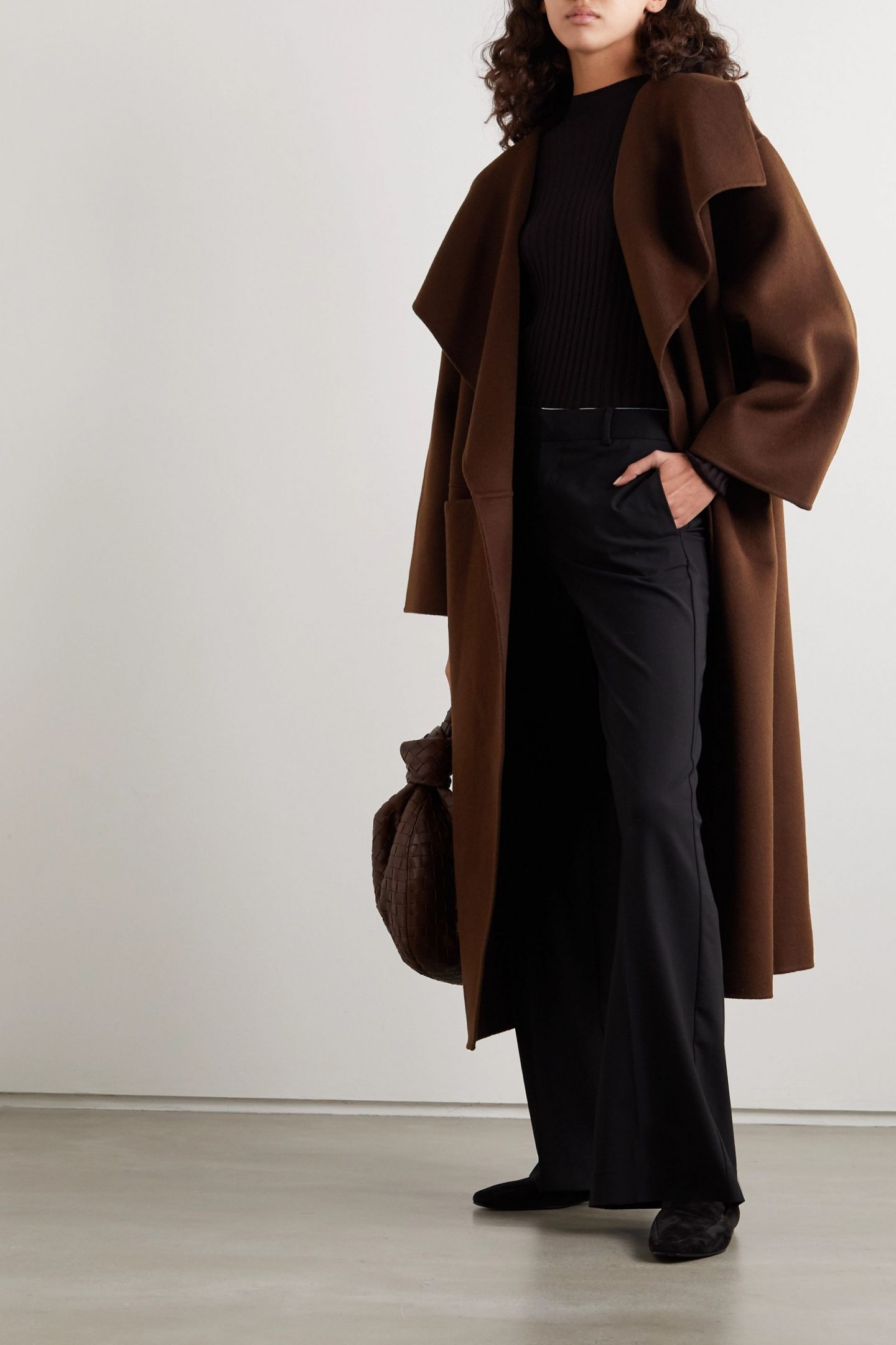 chocolate coloured annecy coat from toteme collection