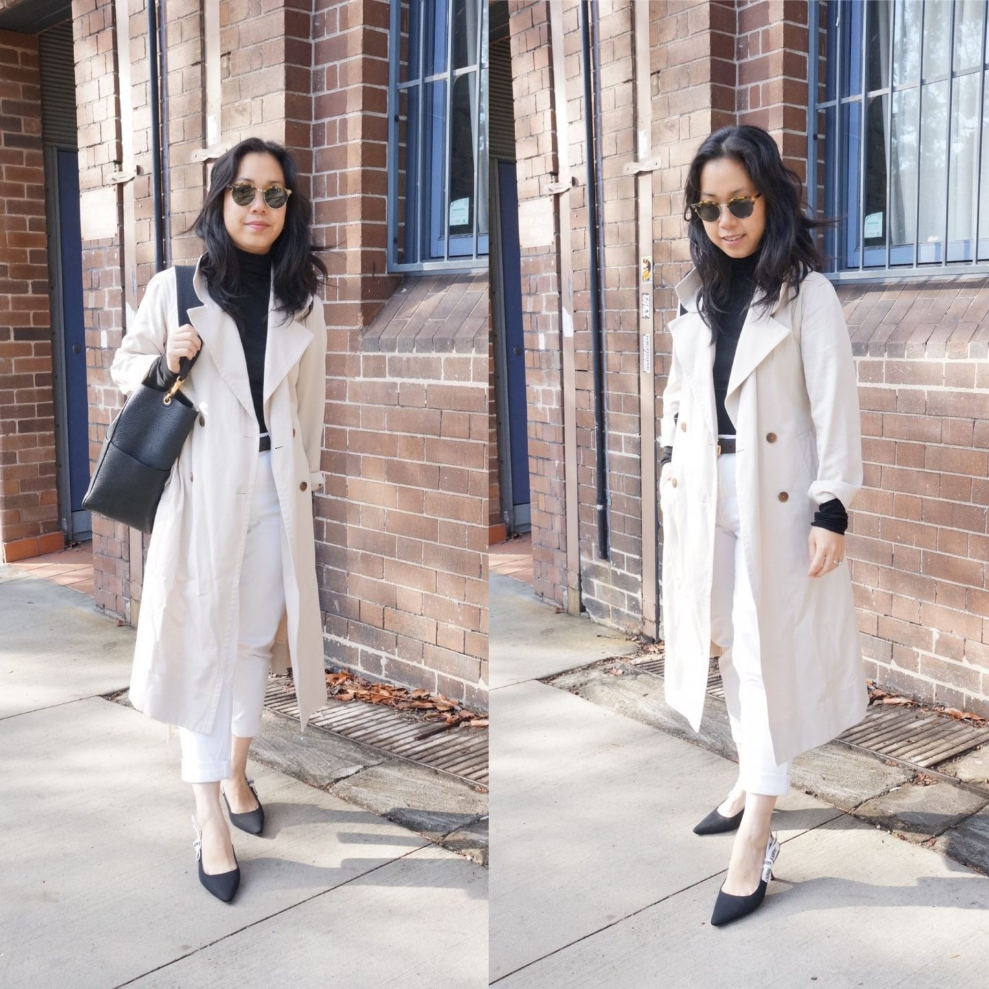 everlane drape trench coat in winter OOTD in business casual look