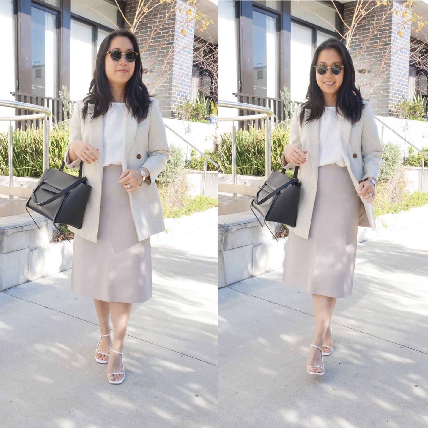 petite workwear blogger styling marle cooper top in white