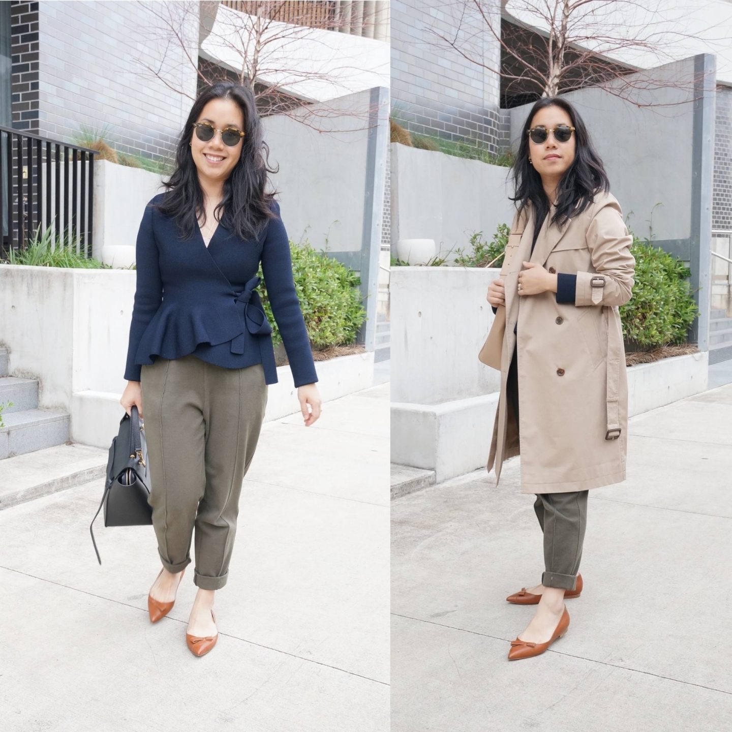 petite workwear blogger styling pointed toe flats in blog post about sarah flint natalie flats review