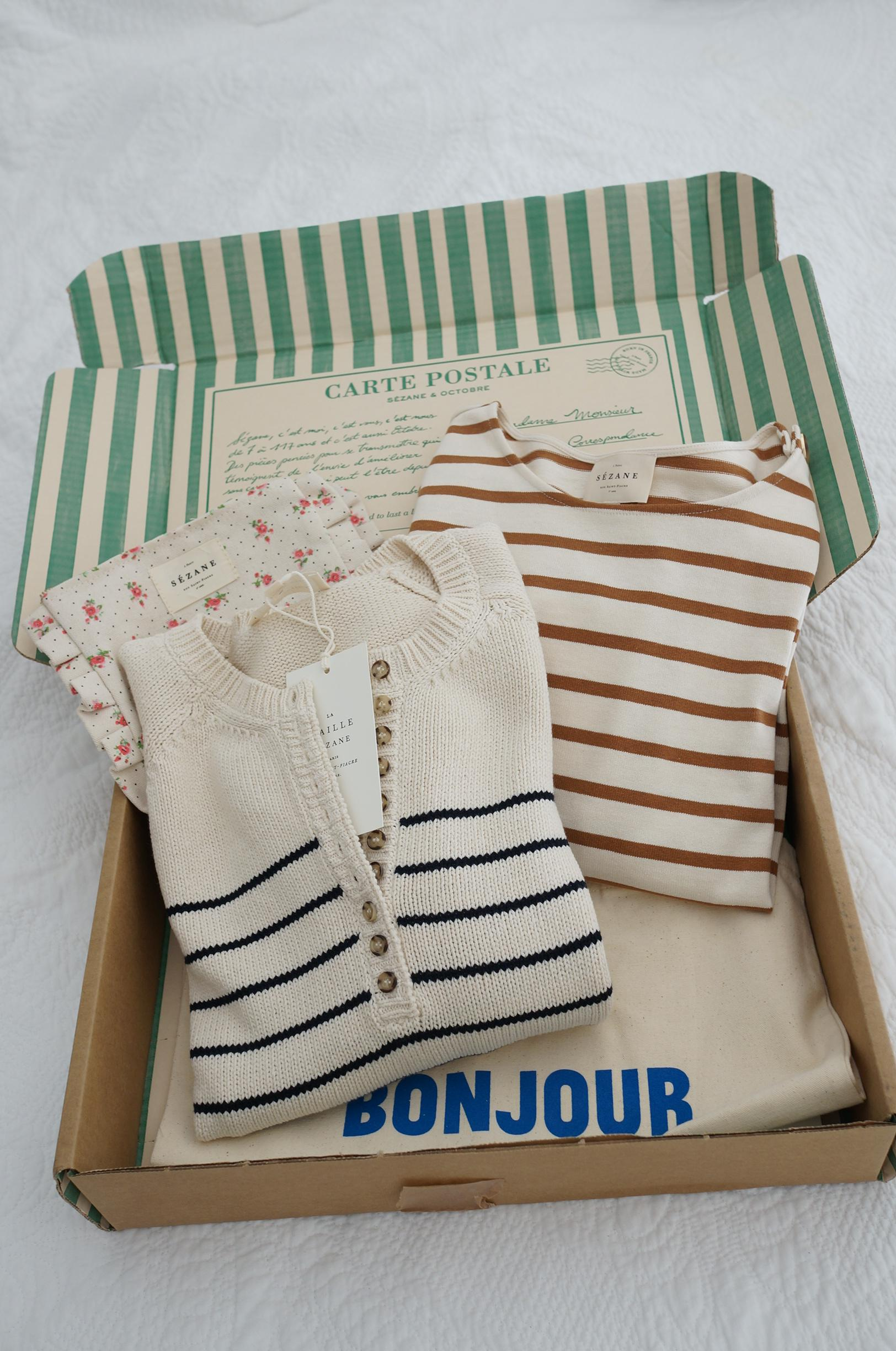 sezane first impressions of first ever order and try-on of leontine knit and colette mariniere