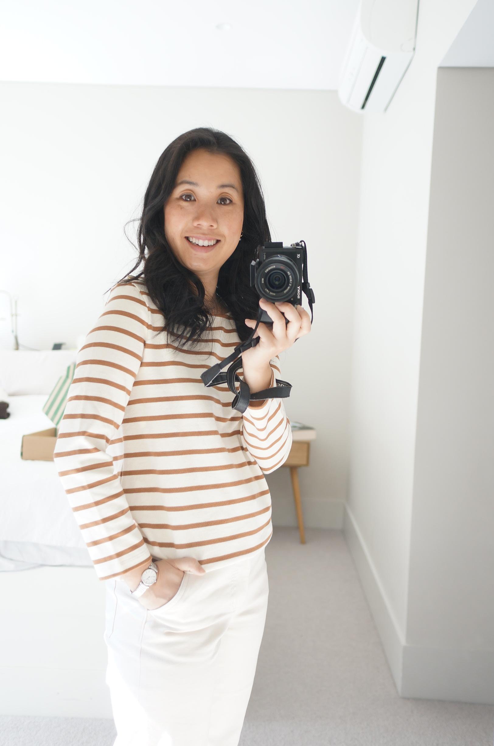 petite woman wearing sezane colette mariniere in blog post sharing first impressions following try-on of first order