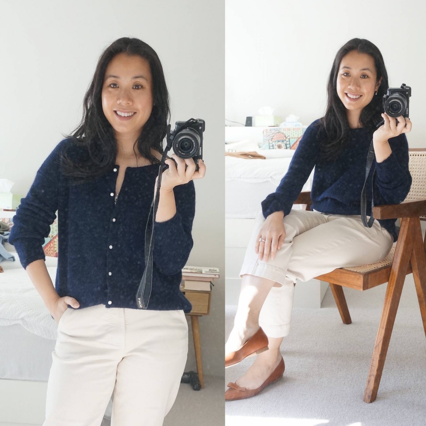 sezane gaspard knit in navy in blog post sharing review