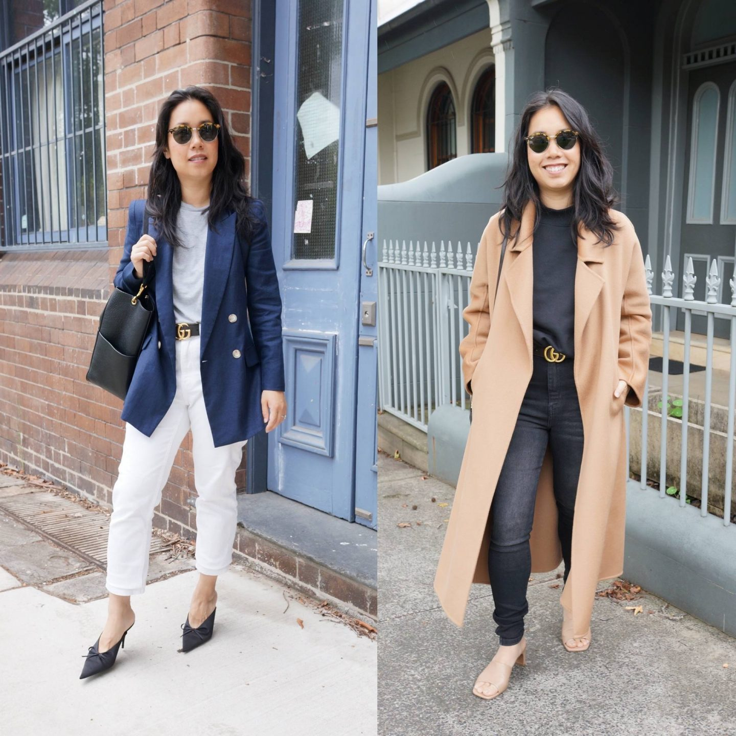 petite asian woman wearing gucci belt in blog post about gucci and loewe belt comparison