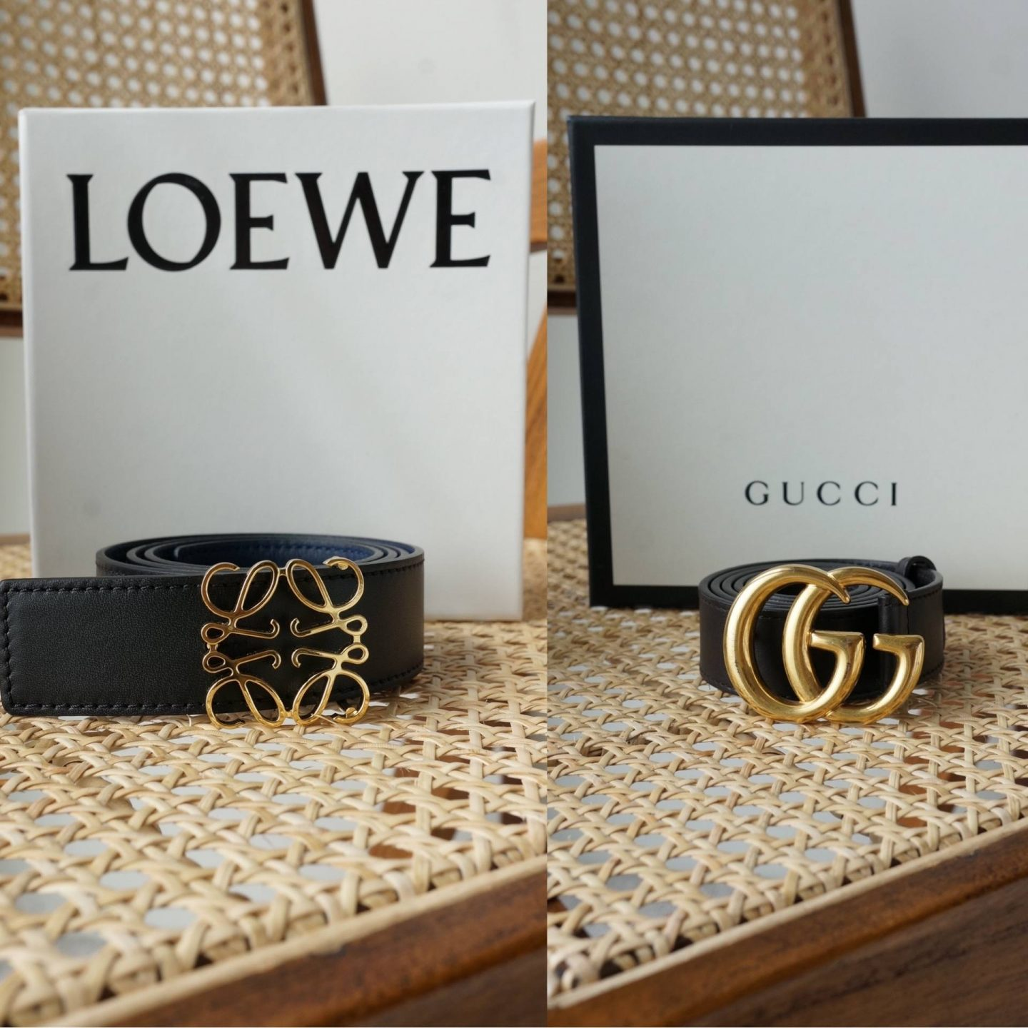 side by side photos of gucci and loewe belt in comparison blog post