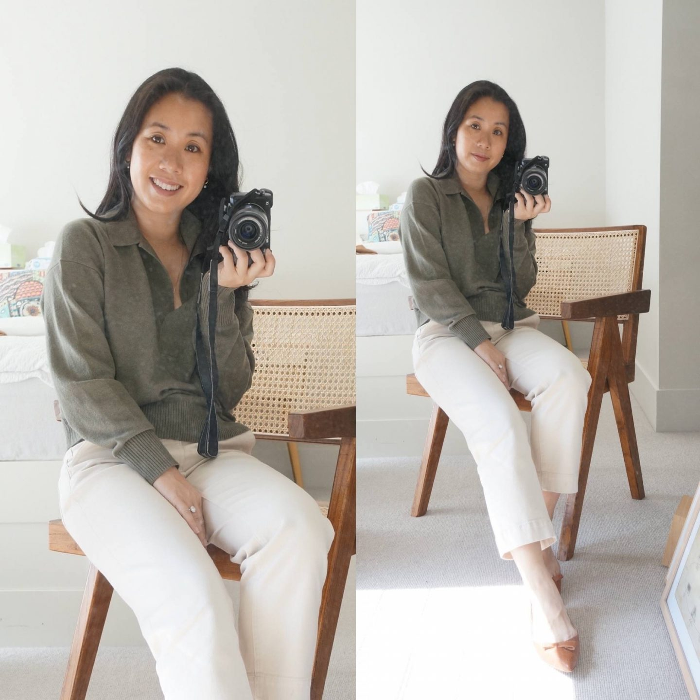 blog post sharing best fall sweaters featuring everlane cashmere polo sweater